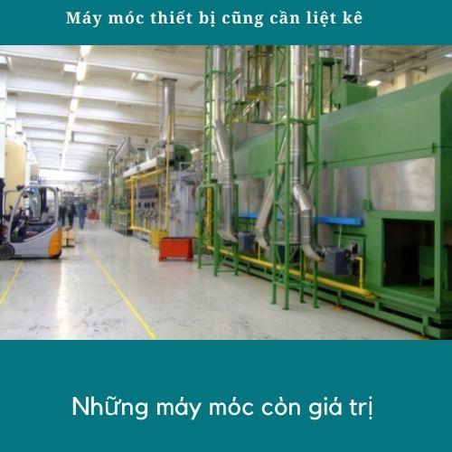Phần máy móc thiết bị của nhà xưởng để mua bảo hiểm